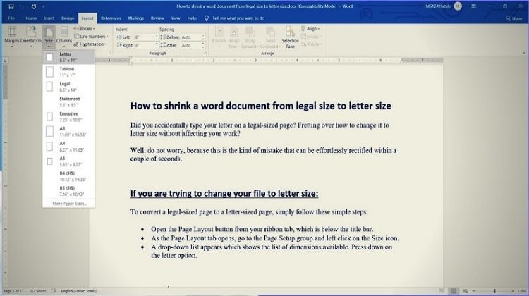 How To Shrink A Word Document From Legal Size To Letter Size